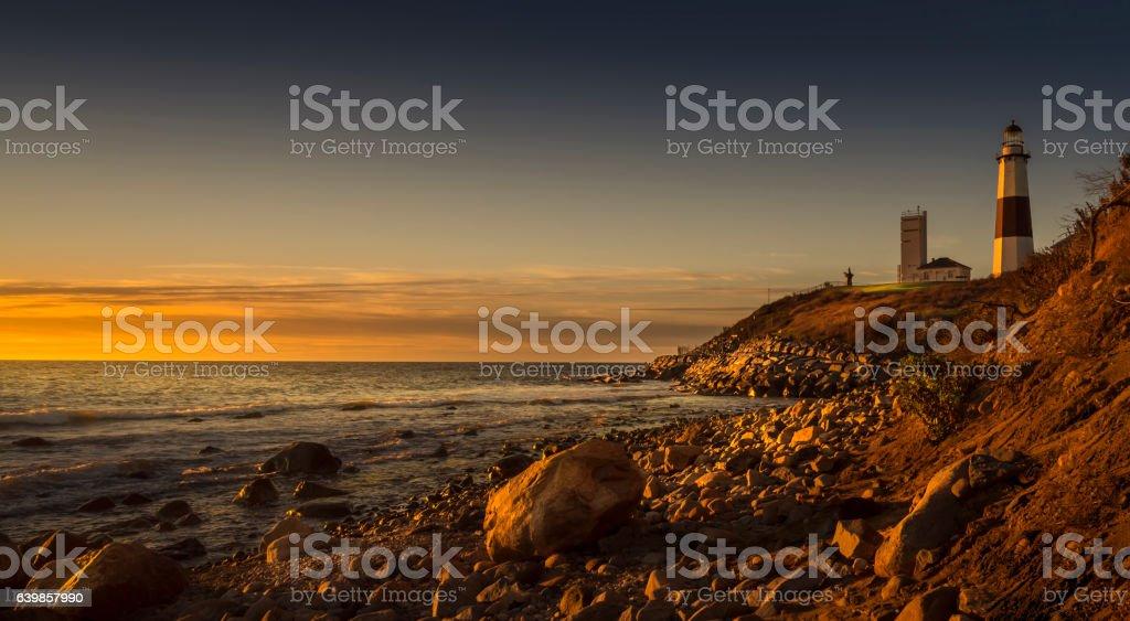 Montauk Lighthouse During Sunrise stock photo