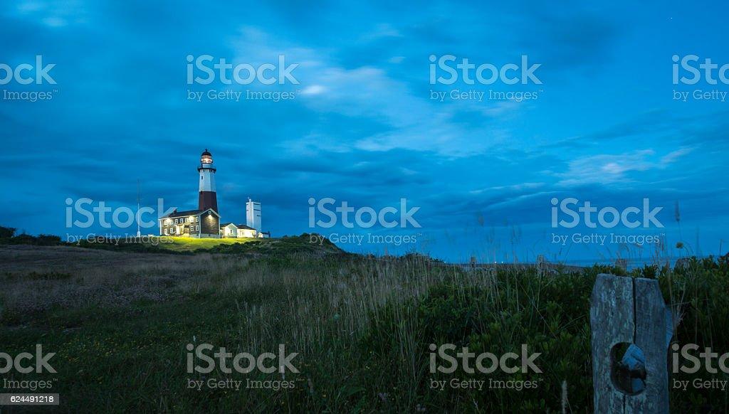 Montauk Point Lighthouse, sunset. Long Island, New York State, USA. stock photo