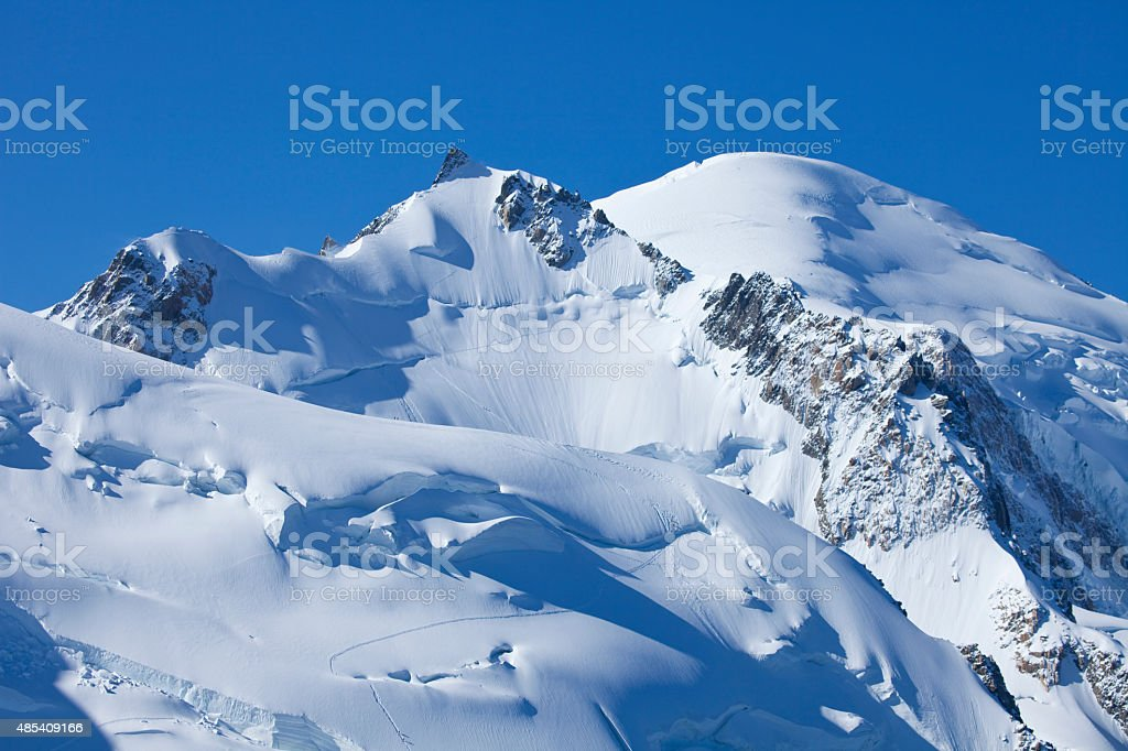 MontBlanc massif from aiguille du midi stock photo