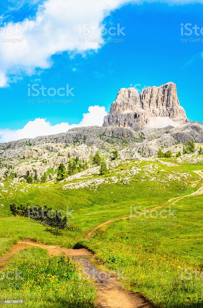 Monte Averau and hiking trail in Dolomits stock photo