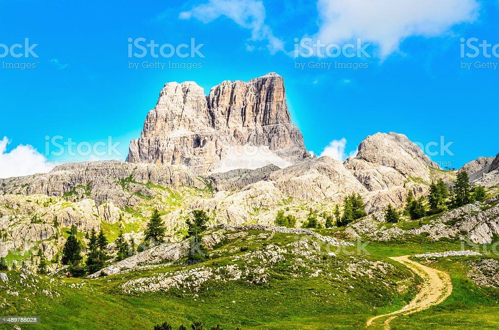 Monte Averau mointain in Dolomites, northern Italy stock photo