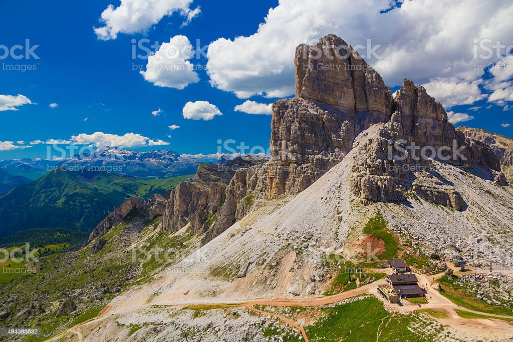 Monte Averau with Rifugio, Dolomites, Italy stock photo
