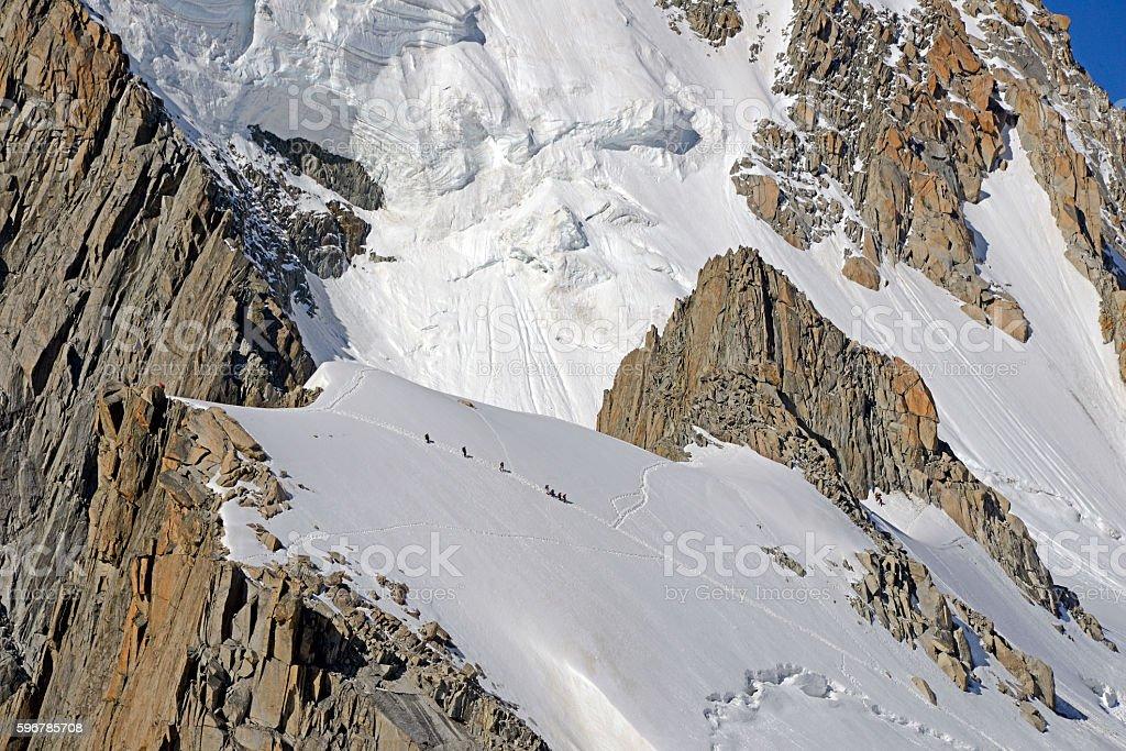 Monte Bianco mountaineering stock photo