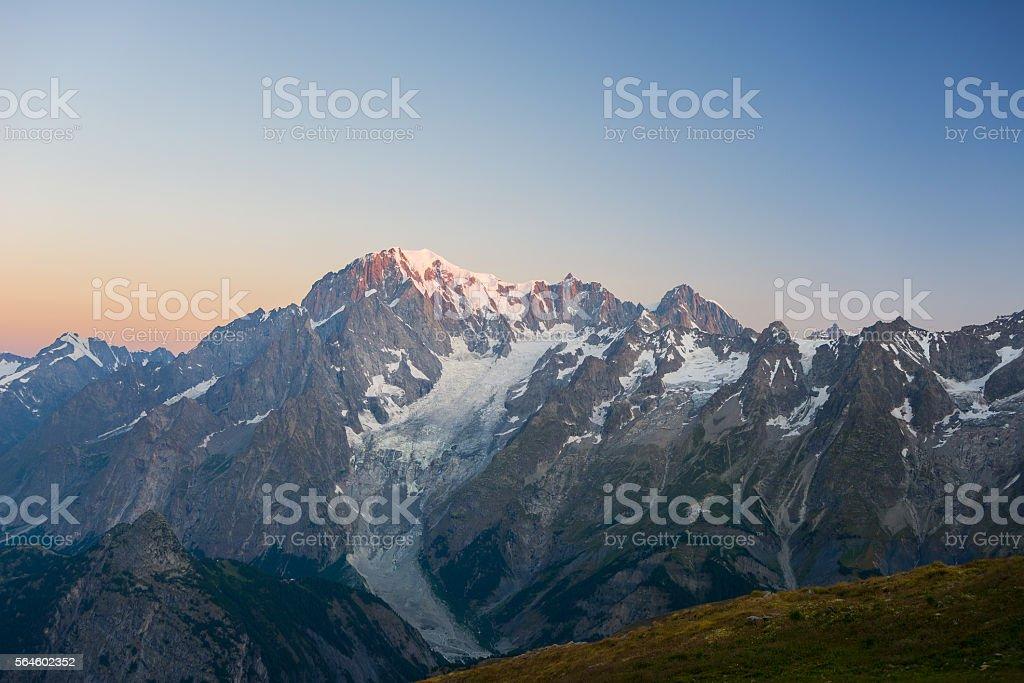 Monte Bianco or Mont Blanc at sunrise, italian side stock photo