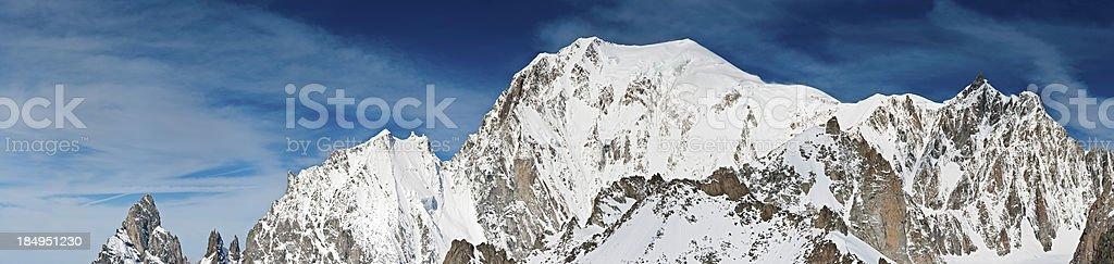 Monte Bianco summit Mont Blanc pinnacles panorama Italy stock photo