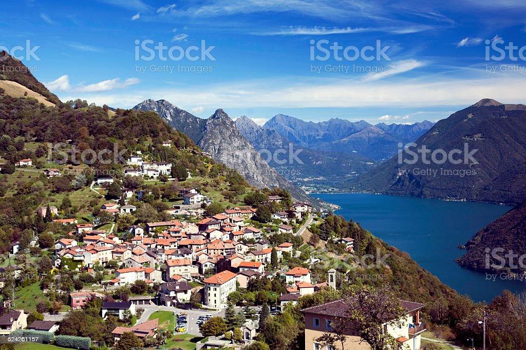 Monte Bre towards Lake Lugano stock photo