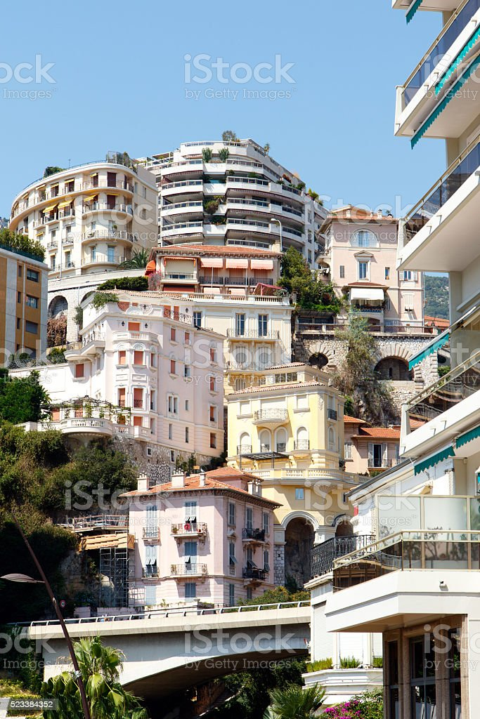 Monte Carlo apartment buildings stock photo