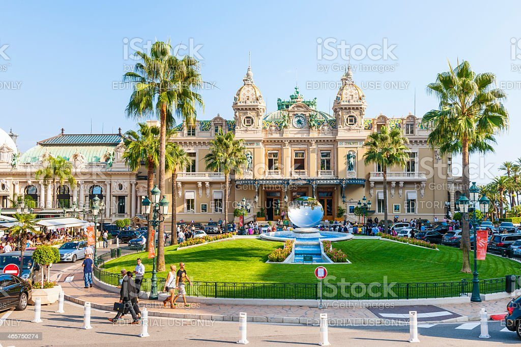 Monte Carlo Casino and Sky Mirror sculpture in Monaco stock photo