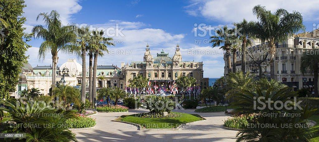 Monte Carlo Casino and the Jardin Exotique in Monaco stock photo
