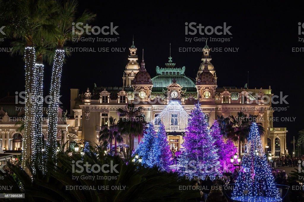 Monte Carlo Casino at Christmas stock photo