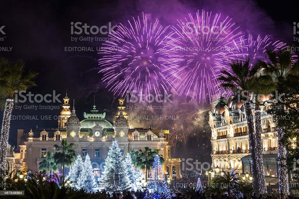 Monte Carlo Casino during New Year Celebrations stock photo