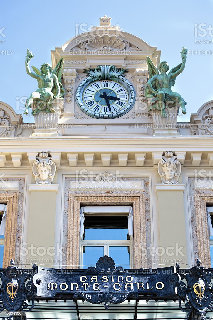 Monte Carlo casino front entrance and clock tower royalty-free stock photo