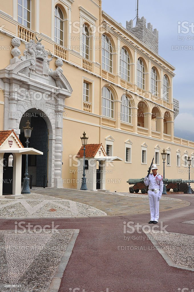 Monte Carlo Castle with guard royalty-free stock photo