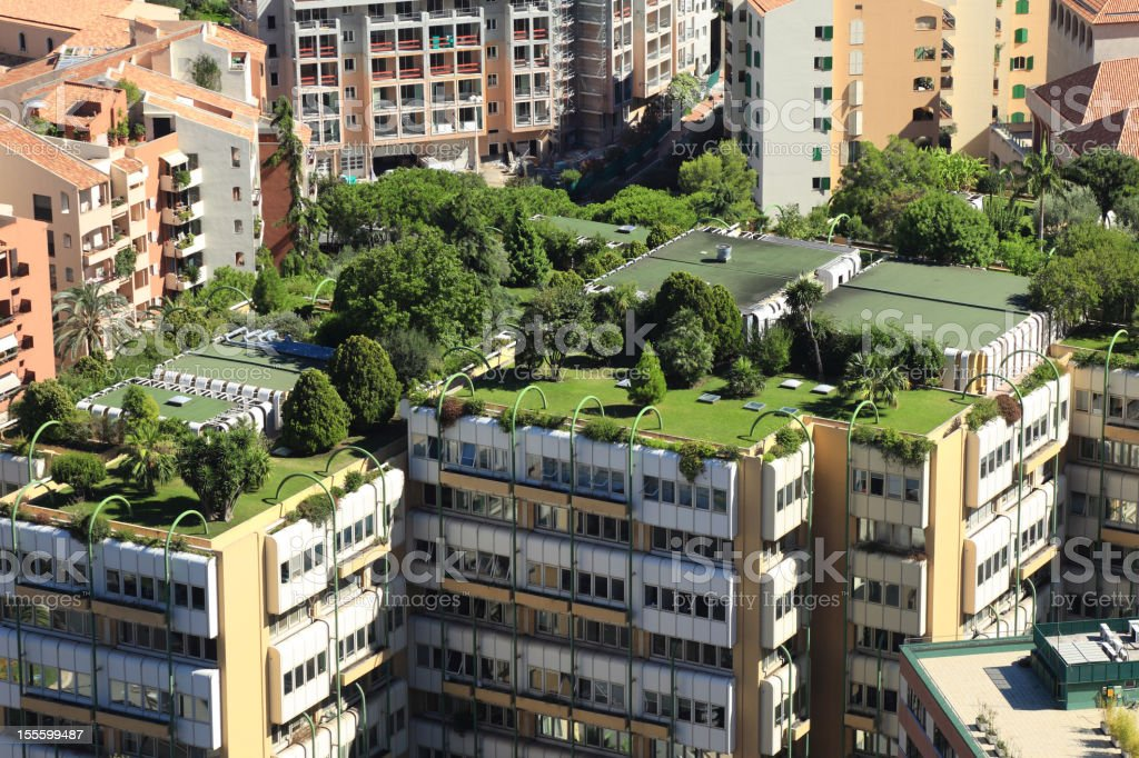 Monte Carlo city roofs royalty-free stock photo