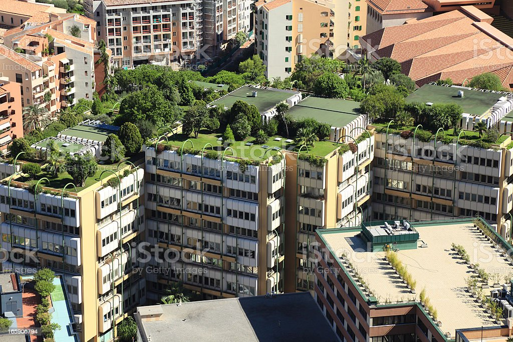 Monte Carlo city roofs stock photo