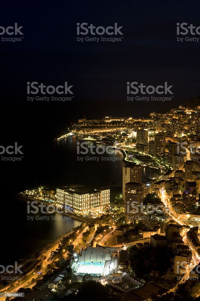 Monte Carlo Coast at night royalty-free stock photo