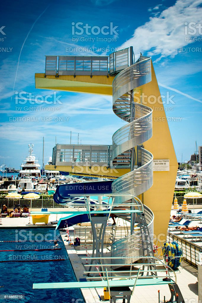 Monte Carlo, Monaco public swimming pool stock photo