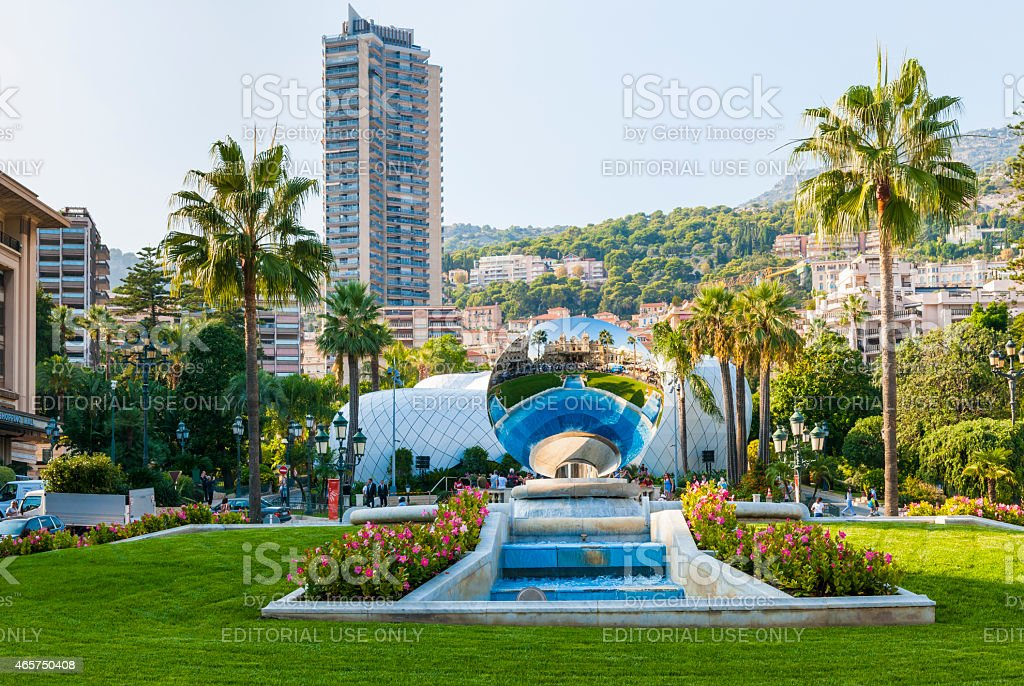 Monte Carlo, Monaco with Sky Mirror sculpture stock photo