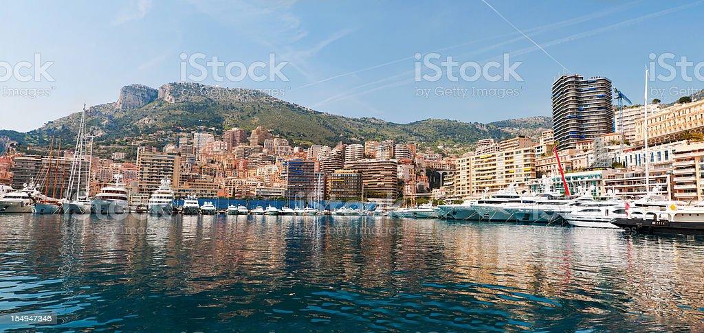 Monte Carlo Waterfront Panorama, Monaco royalty-free stock photo