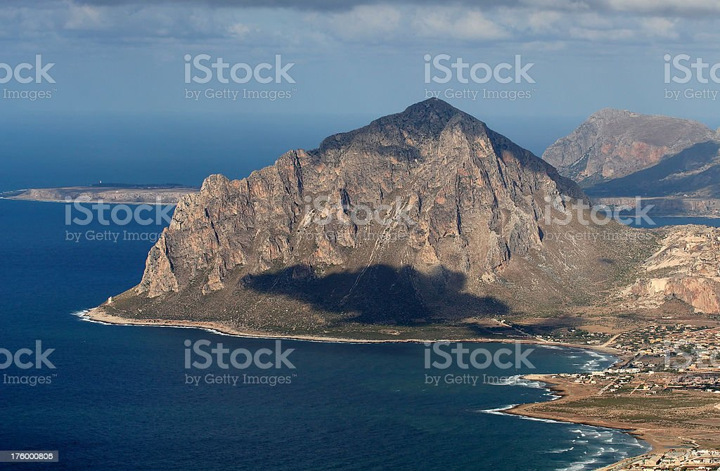 Monte Cofano near Erice in Sicily stock photo