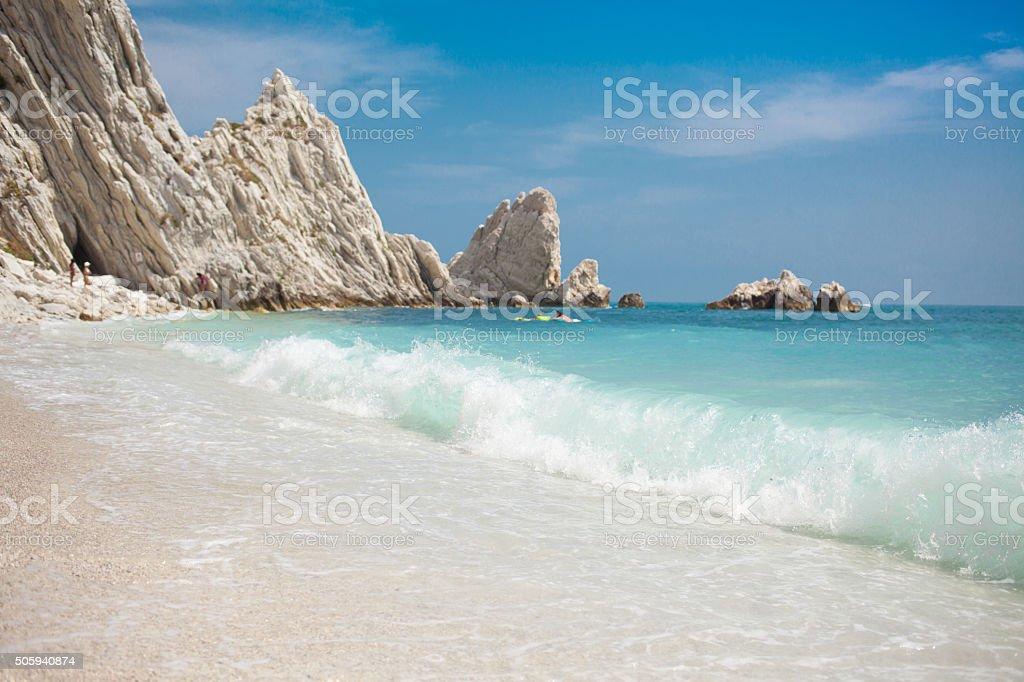 Monte Conero and Due sorelle beach stock photo