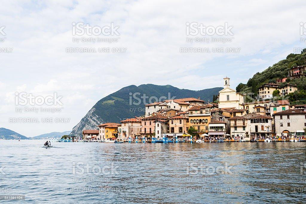 Monte Isola village, Iseo Lake, Italy stock photo