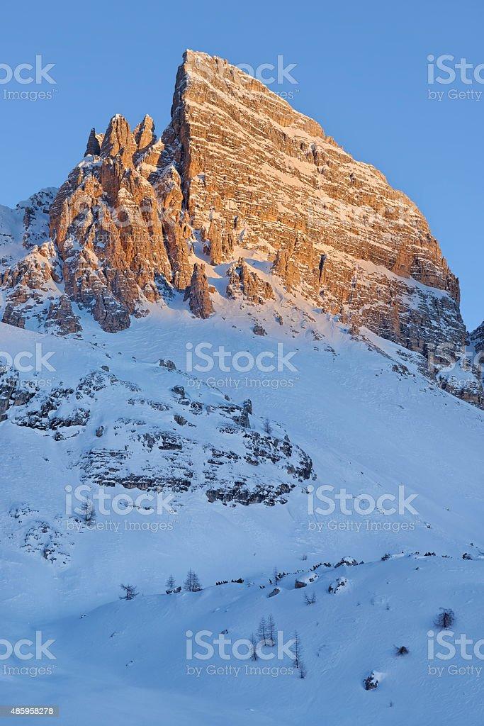 Monte Paterno al tramonto (Dolomiti) stock photo