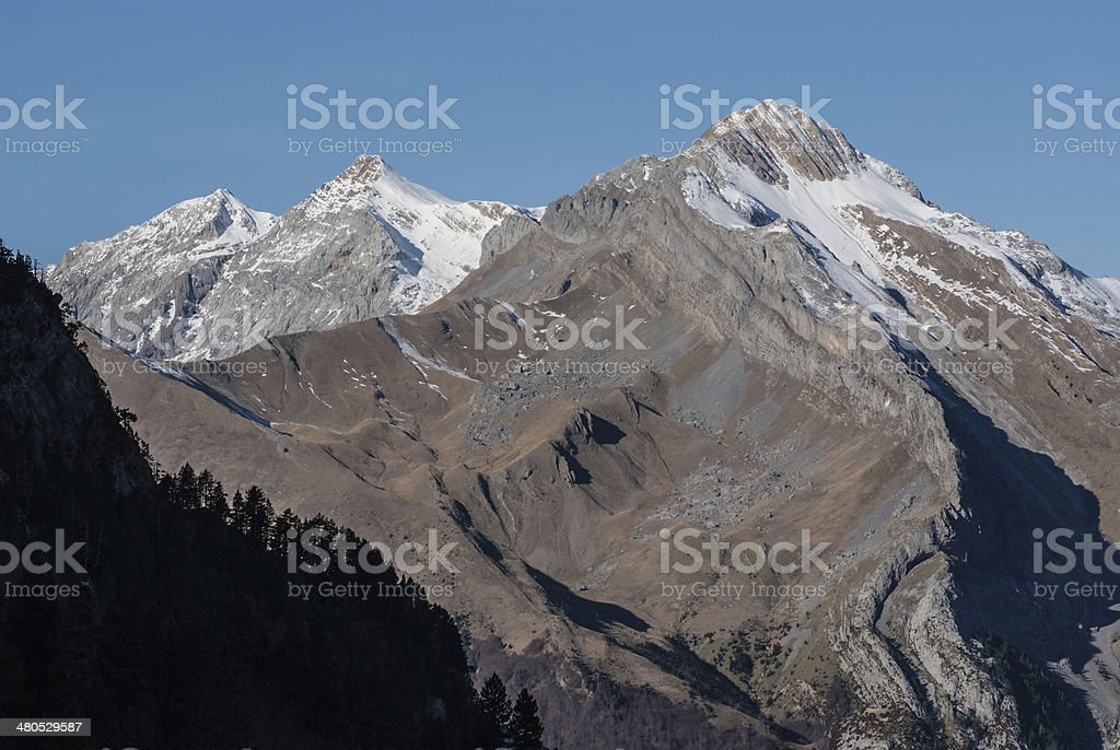 Monte Perdido in Ordesa National Park, Huesca. Spain. stock photo