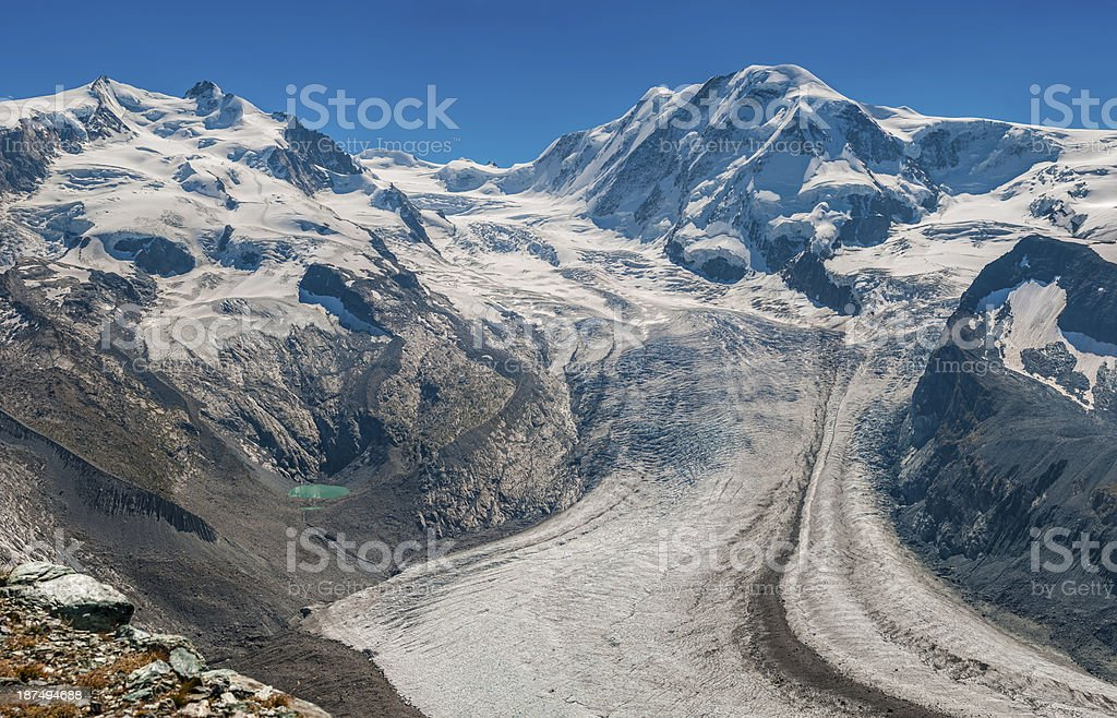 Monte Rosa and Liskamm from Gornergrat point (panoramic) - VII stock photo