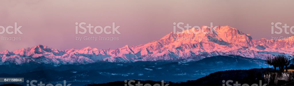 Monte Rosa lit by the morning sun stock photo