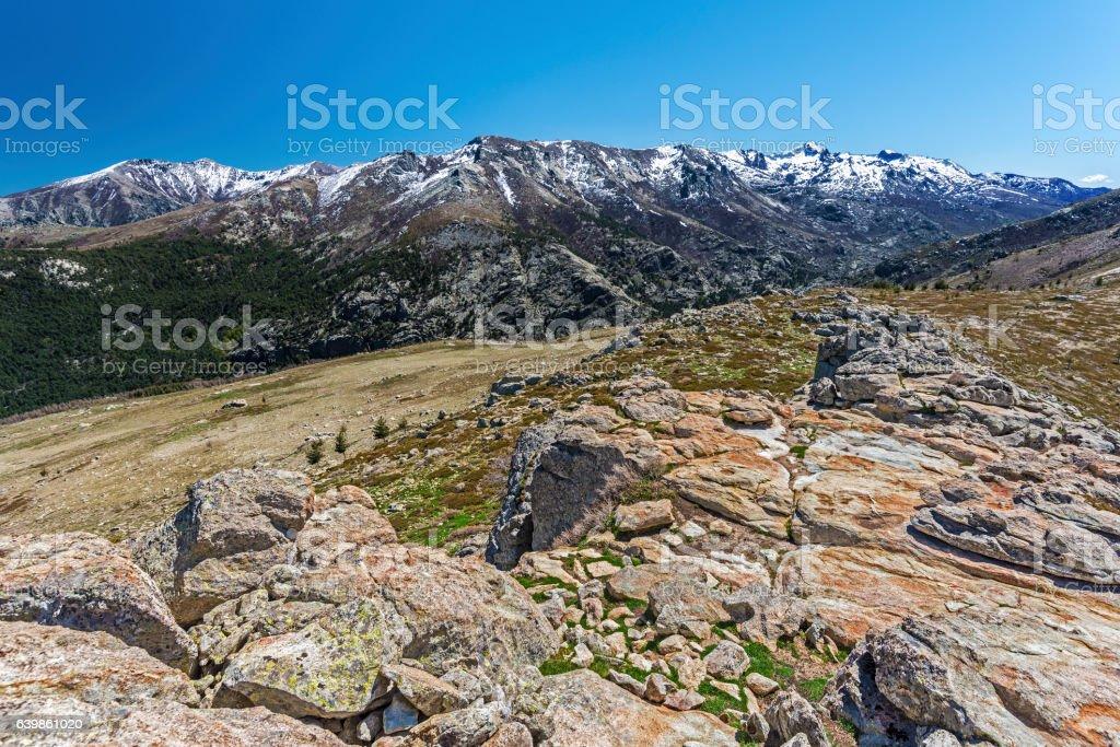 Monte Rotondo Mountain massif in Central Corsica stock photo