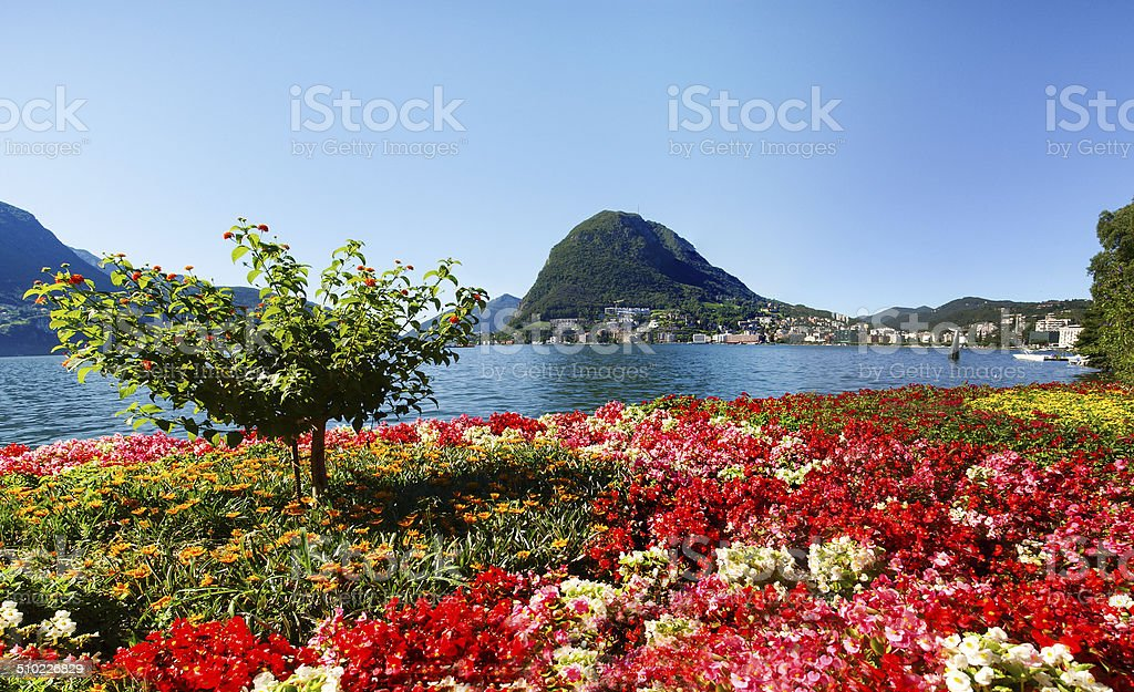 Monte San Salvatore seen from the park stock photo
