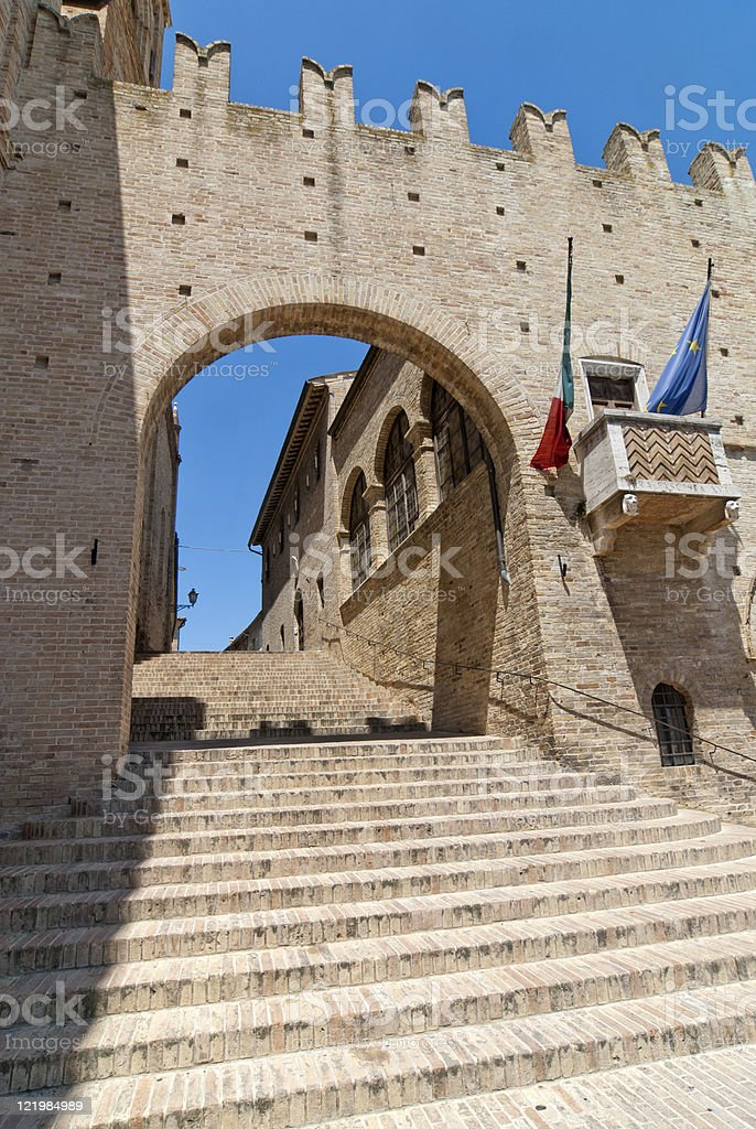 Montecassiano (Macerata, Marches, Italy) - Medieval buildings royalty-free stock photo