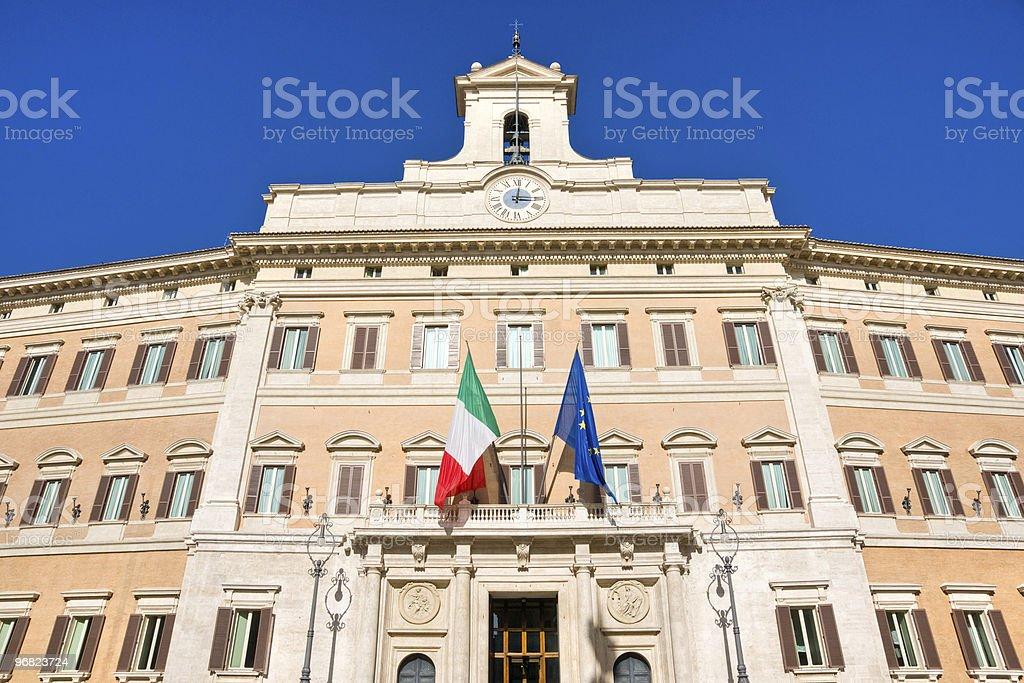 Montecitorio the House of Italian Parliament in Rome stock photo