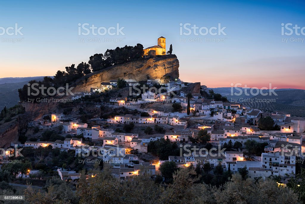 Montefrio at sunset, Andalusia, Spain stock photo
