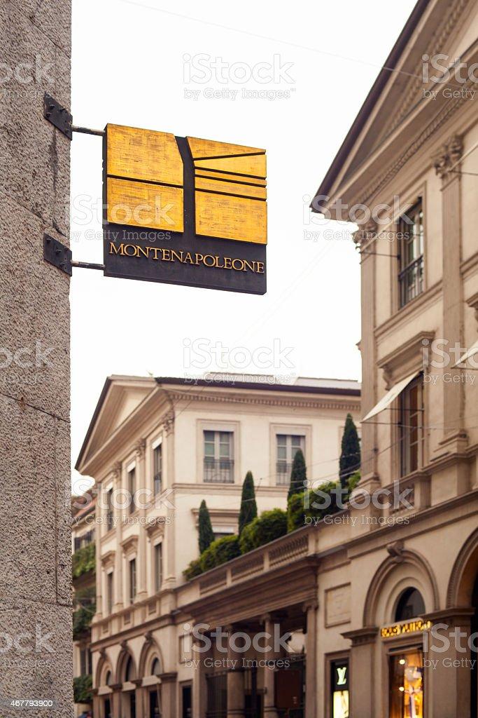 Montenapoleone street in Milan stock photo