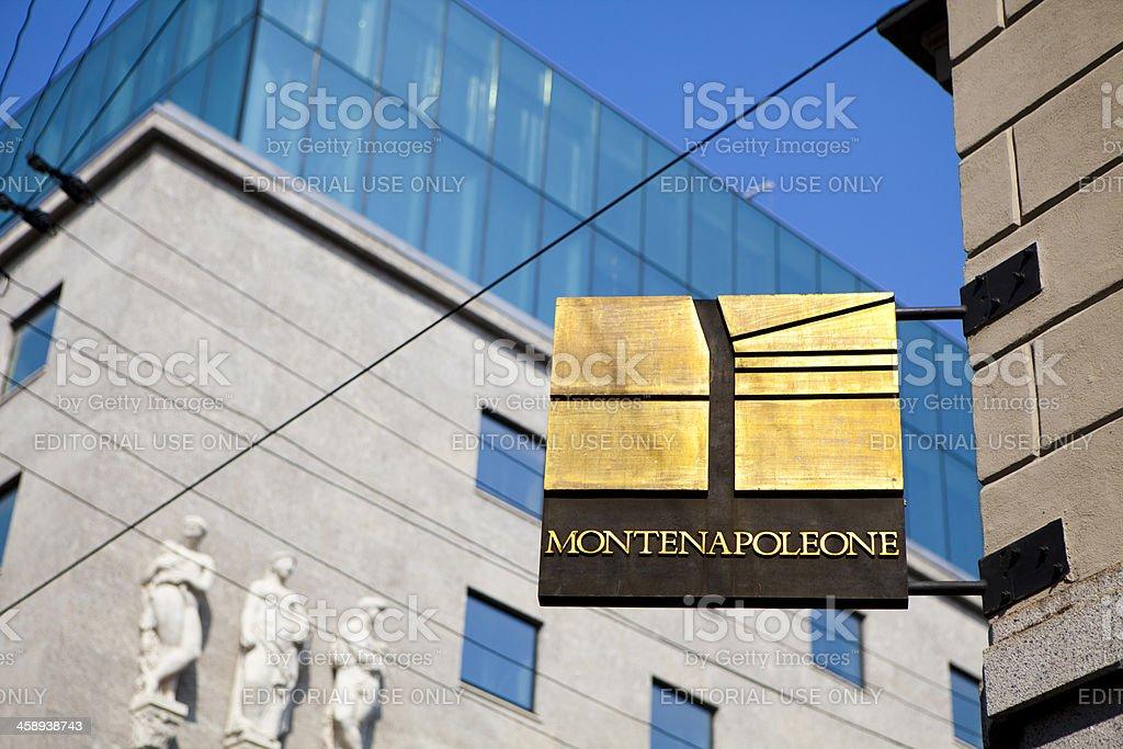 Montenapoleone Street Sign In Milan stock photo