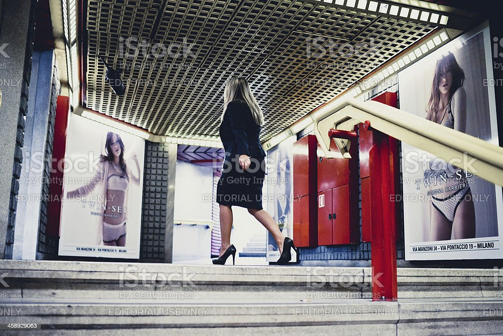 Montenapoleone Subway Station Exit in Milan, Italy stock photo