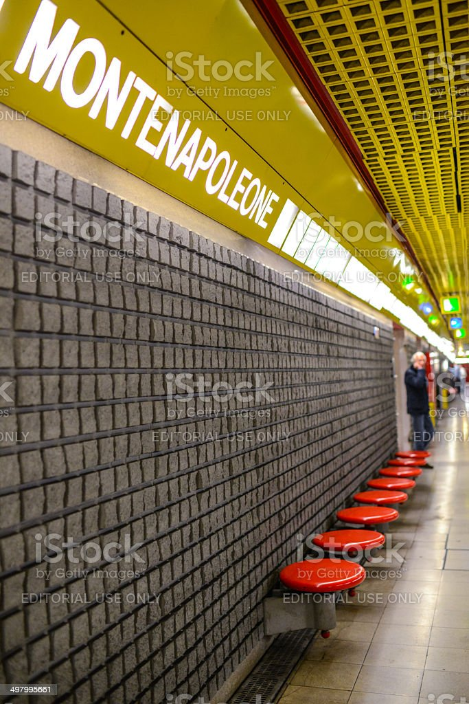 Montenapoleone Subway station, Milan, Italy stock photo