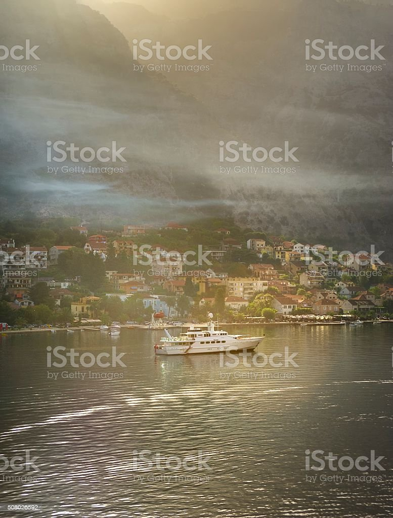 Montenegró sun rise and the low clouds stock photo