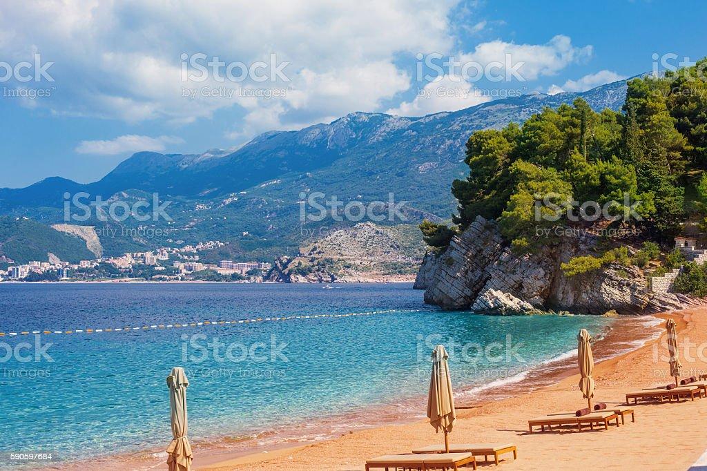 Montenegro, beauty expensive hotel in Sveti Stefan - Balkans Eur stock photo