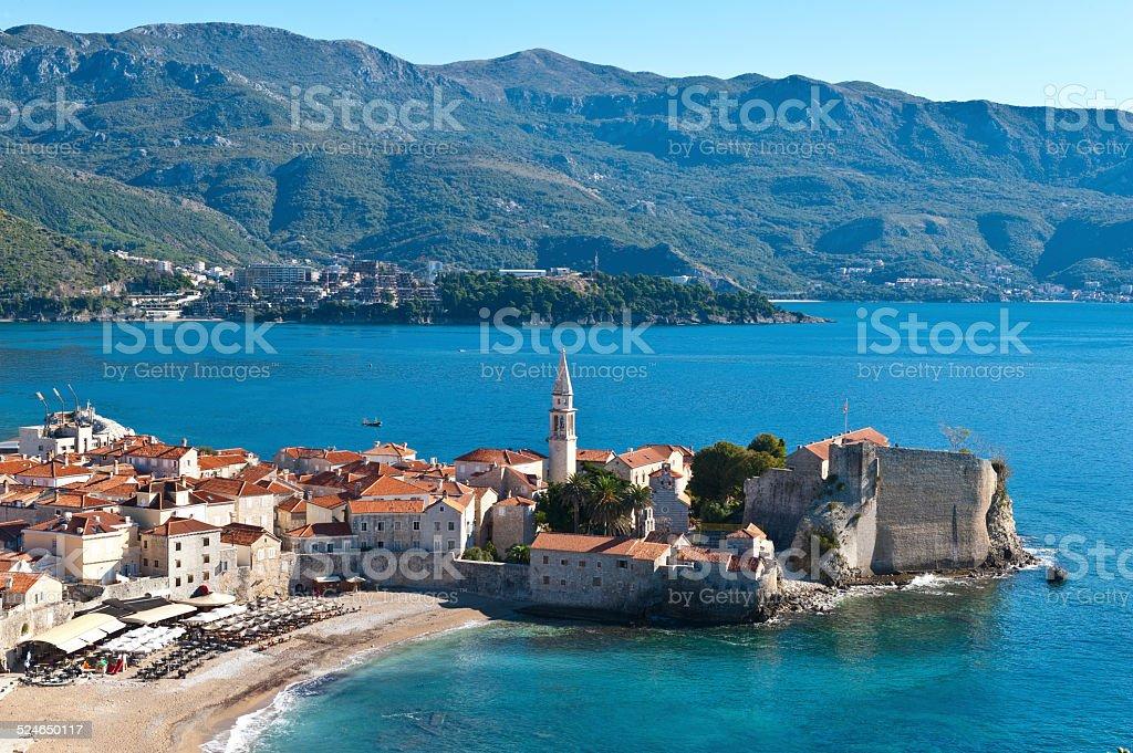 Montenegro, Budva, town top view stock photo