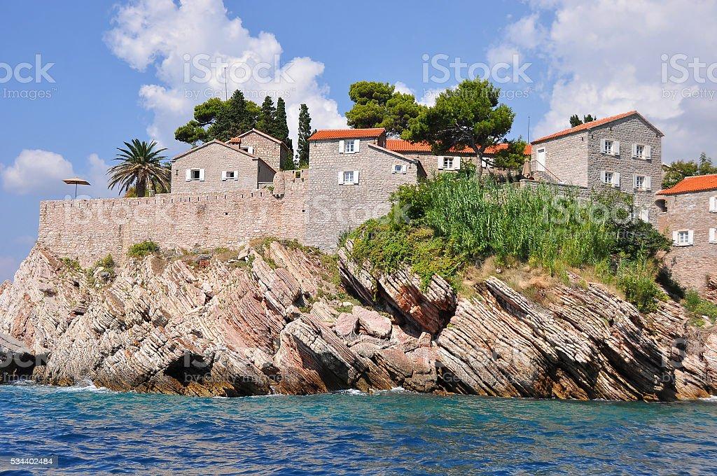 Montenegro. The island of St Stephen stock photo