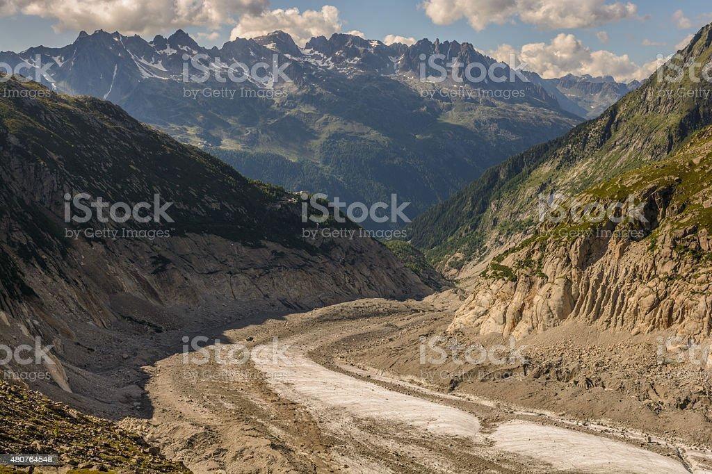 Montenvers mountain railway station Mer de Glace Glacier stock photo