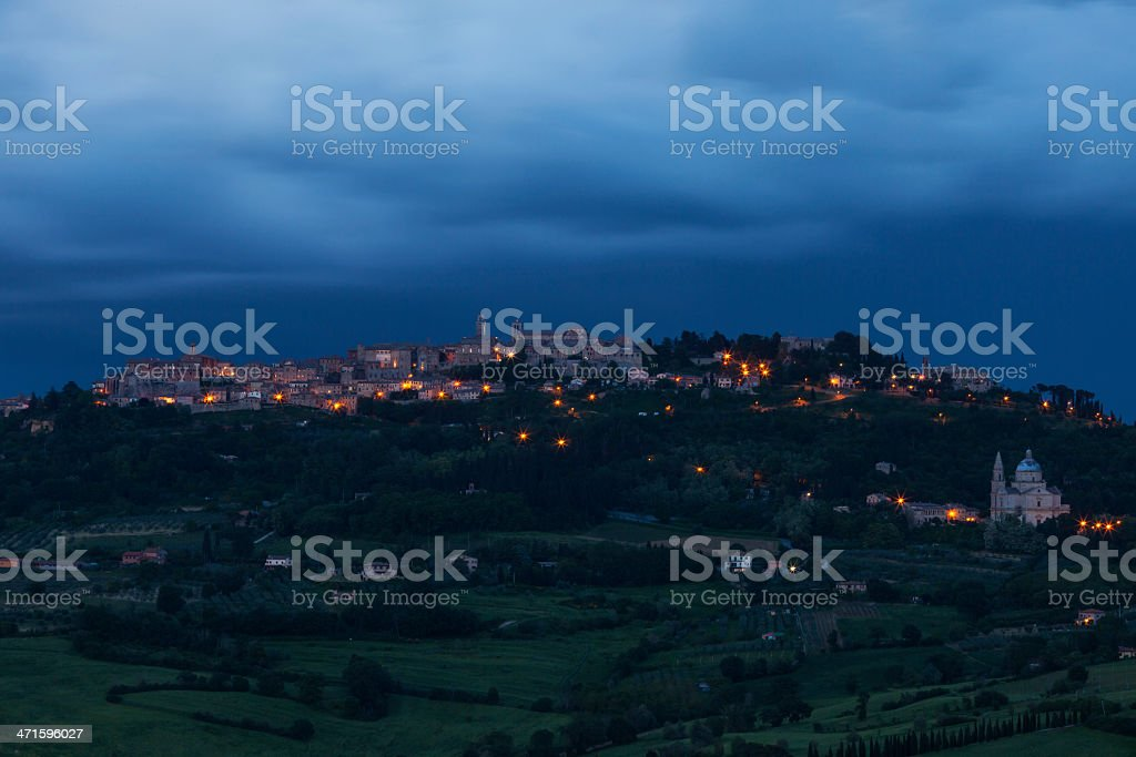 Montepulciano by night stock photo