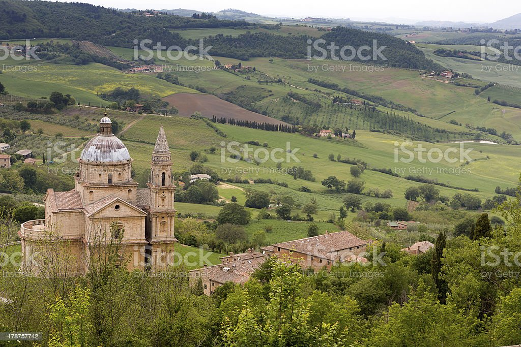 Montepulciano church stock photo