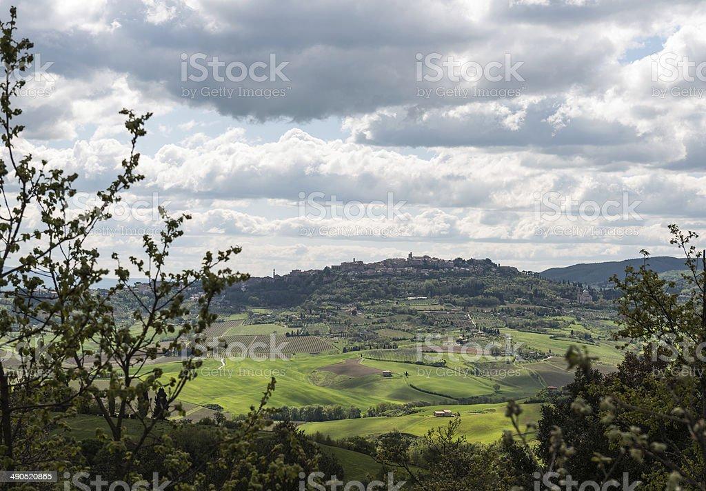 Montepulciano skyline, Tuscany Italy stock photo