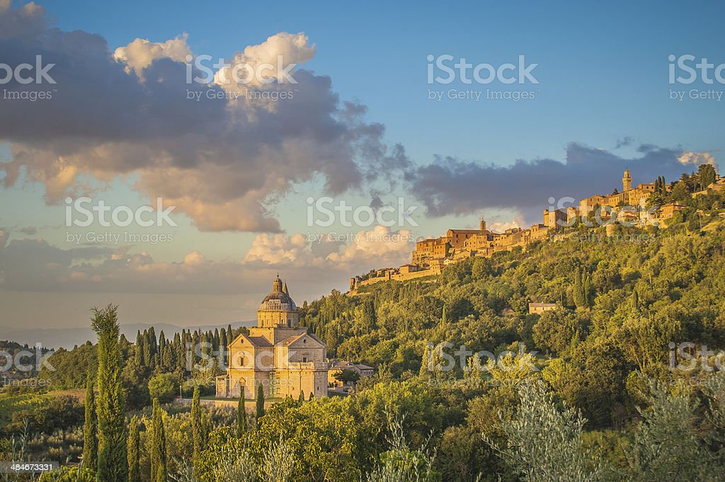 Montepulciano town in Tuscany at sunset, Italy stock photo