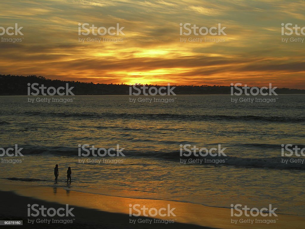Monterey Bay Sunset - Last Wave, California Coast, USA royalty-free stock photo