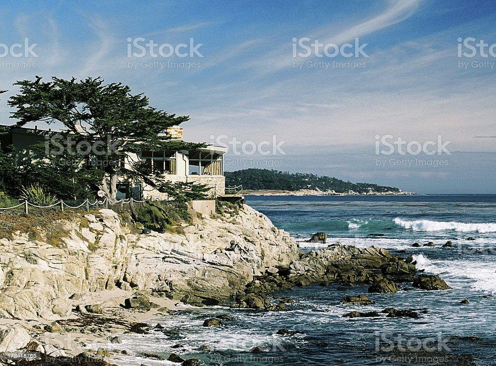 Monterey California oceanfront home stock photo